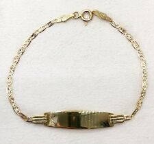 """Tri Color 14k Gold Valentino Chain Adjustable Baby ID Bracelet 6"""" Free Engraving"""