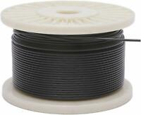 """Vinyl Coated Stainless Steel 304 Cable Wire Rope 7x7, Black, 1/16"""" - 1/8"""""""