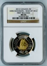 2012 CANADA NGC FIRST RELEASES MS66 HMS SHANNON-WAR OF 1812 TOONIE $2! RARE!