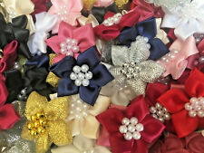 Bows Ribbon and Lace~Poinsettia Satin Ribbon Flowers.Choice of colour & quantity