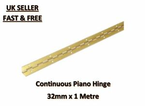 CONTINUOUS HINGE PIANO HINGE BRASS 32MM X 1000MM. 1 METRE LENGTH