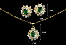 Elegant Green CZ Gold Plated Lady Necklace/ Earrings Jewellery Set