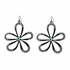 Very pretty large silvery black cutout daisy flower dangle earrings with crystal