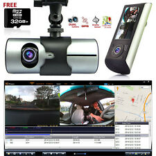 HD Dual Camera Front+InCab Driving Recorder Car DVR GPS+Gravity Sensor FREE 32GB