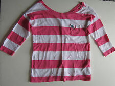 ABERCROMBIE KIDS Girl Small Pink White Stripe Shirt Thin Cotton Modal 3/4 Sleeve
