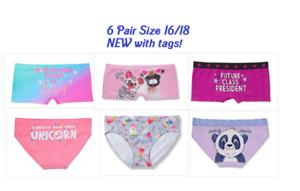 NWT Justice For Girls 6 Pair Panties 16/18 Shorties