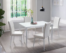 Kings Brand Furniture - Metal With Glass Top Dining Set, Table & 4 Chairs, White