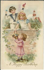 BA-409 A Happy Birthday, Three Children two girls, one boy 1907-1915 Postcard