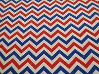 Patriotic 48968 Red White Blue Chevron Zig Zag Striped Cotton Fabric 1/2 YARD