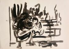 David Hendler: Three Seated Figures in a Talk / Israeli Jewish Modern Watercolor