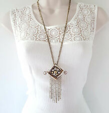 "Gorgeous 26"" long Boho - vintage gold tone chain & diamante pendant necklace #5"