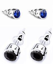 MEN EARRINGS BLUE BLACK CZ STUD EARRINGS BEST FASHION GIFT SILVER PLATED STUDS