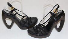 Louis Vuitton 8 Black Lizard Patent Leather Slingback Sandal 5.3 Heel $1080 Plat