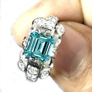 2.30 Ct VS1+WHITEBLUE EMERALD MOISSANITE DIAMOND 925 SILVER Engagement RING