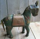 Primitive Hand Made Wood Horse Folk Art Vintage Farmhouse Copper Bronze Patina