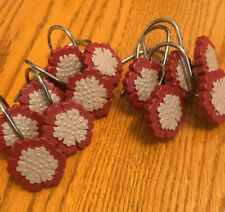Shower Curtain Hooks -Maroon and Gray- Set/12- Silver Toned Hooks- New- Sh Free