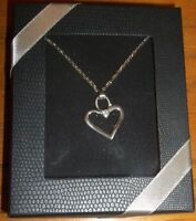 """Gorgeous Silver-tone CZ Heart Necklace- 18""""L By LTD Commodities. Gift Boxed"""