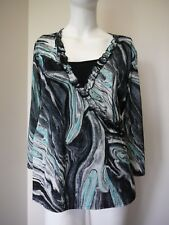 Millers Womens Shirt Size 18 Top 3/4 Sleeve Navy Swirl Black Camisole NEW
