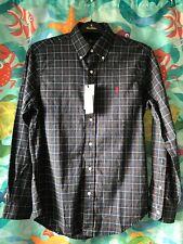 NWT Mens Ralph Lauren Navy/Green/Red/White Plaid Oxford Long Sleeve Shirt Small