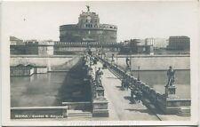 Primi 1900 Roma - Castel Sant Angelo, carri con cavalli sul ponte - FP B/N ANIM