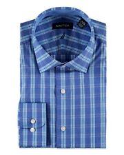 Nautica Mens Blue Plaid Stretch Cotton Button-Front Dress Shirt NWT $65 16 34/35