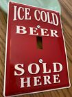 ICE COLD BEER SOLD HERE EMBOSSED LIGHT SWITCH COVER PLATE