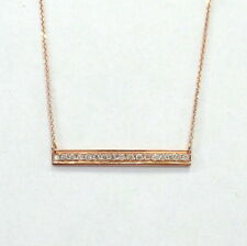 DIAMOND BAR  NECKLACE 14K ROSE GOLD 0.20CT SI1 CLARITY G COLOR