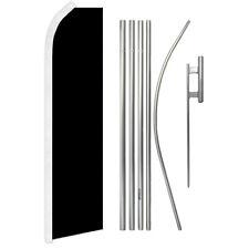 Black Solid Color Swooper Advertising Feather Flutter Flag Pole Kit Black Flag