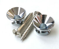 2 Stratocaster Style Chrome Strap Buttons Gotoh type + screws