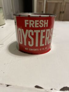 Fresh Oysters Red Rare Giant Food inc. Washington DC 12 oz. Oyster Tin Can NOS