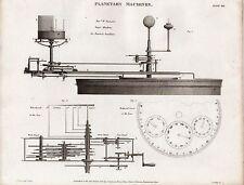 1816 ~ stampa Georgiano macchine PLANETARIA JUPITER'S satelliti Pearson piano