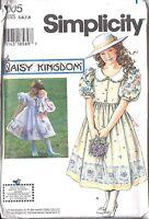 UNCUT Simplicity Vintage Sewing Pattern Girls Daisy Kingdom Dress + Doll 7005