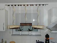 Küche Gardinen set,Schlaufen Gardine,Braun/beige-gold /weiss  Nr.99