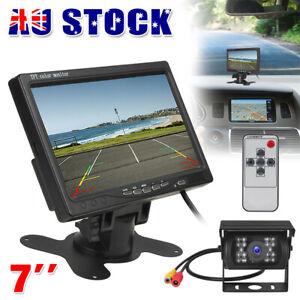 """7"""" TFT LCD Monitor Night Vision Car Rear View Kit HD 18 LED IR Reversing Camera"""