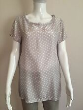 DOU UOD MAGLIA DONNA BLOUSE SHIRT WOMAN SIZE 46 100% SILK CASUAL POLKA DOTS BLU