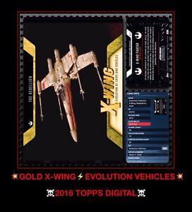 RARE EPIC Topps STAR WARS GOLD X-Wing vehicle LUKE SKYWALKER digital CARD TRADER
