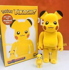 Medicom Bearbrick 2020 Pokemon Pikachu Flocked version 400% + 100% Be@rbrick set