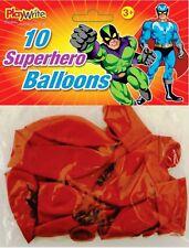 10 Red Super Hero Latex Superhero Balloons Party Birthday Loot Fun Gift Balloon