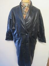 Ladies Vintage Old Mill Glen laine Bainton Double Breasted LEATHER TRENCH COAT
