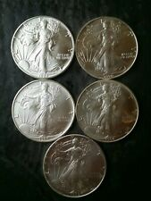 Lot of Five $1 American Silver Eagle Dollars
