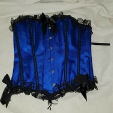 Gorgeous blue black boned corset basque size M