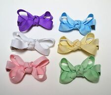 Tiny Baby Hair Bows, lot of 6, 2-inch Twisted bows, Handmade hairbows Itty bitty