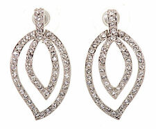 Swarovski Elements Crystal Abstract Leaf Pierced Earrings Rhodium Plated 7127y