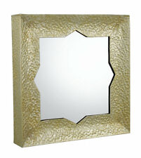 Moroccan Style Ornate Wall Mirror Gold Hammered Finish Square Wall Mirror