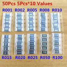 50pcs 10 Value 2512 Smd Alloy Resistor Assorted Kit R001 R005 R010 R050 R100 1r