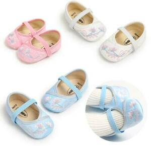 Newborn Gift Baby Girls Crib Shoes Infant Embroidery Soft Sole Shoes Size 1 2 3