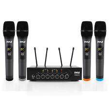 Pyle Wireless Microphone System Set w/ Bluetooth Receiver Base & 4 Handheld Mics