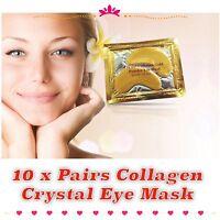 10 x Premium Crystal Collagen Gold Powder Eye Masks Face Pad Anti Ageing Wrinkle