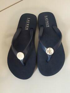 Ladies Blue Ralph Lauren Flip Flops Size 5/6 Uk