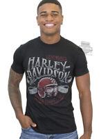 Harley-Davidson Mens Cafe Racer Helmet and H-D Banner Black Short Sleeve T-Shirt